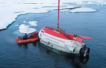 Обитаемый подводный аппарат МИР на Северном полюсе